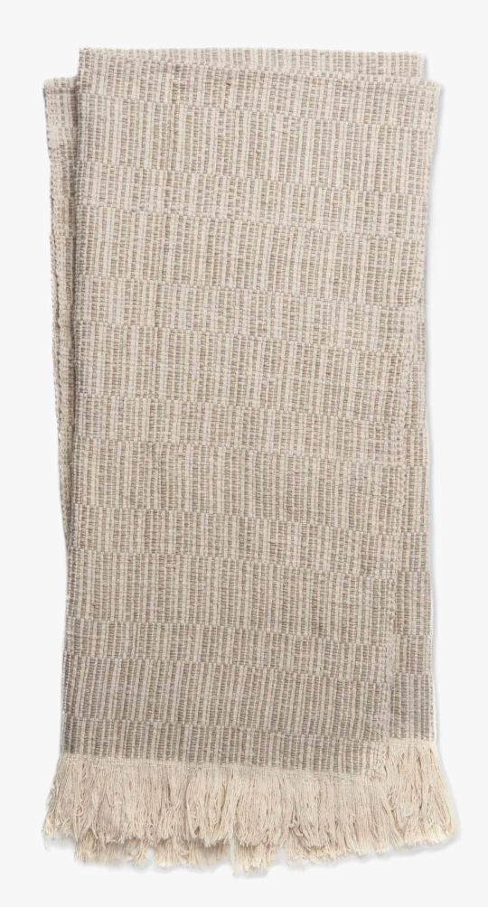 "Sienna Linen & Cotton Throw - Amethyst Home Our Sienna linen & cotton throw is beautifully crafted with a soft fringe.  Lightweight for the warmer months.  4'2"" x 5'0""  Dry clean recommended."