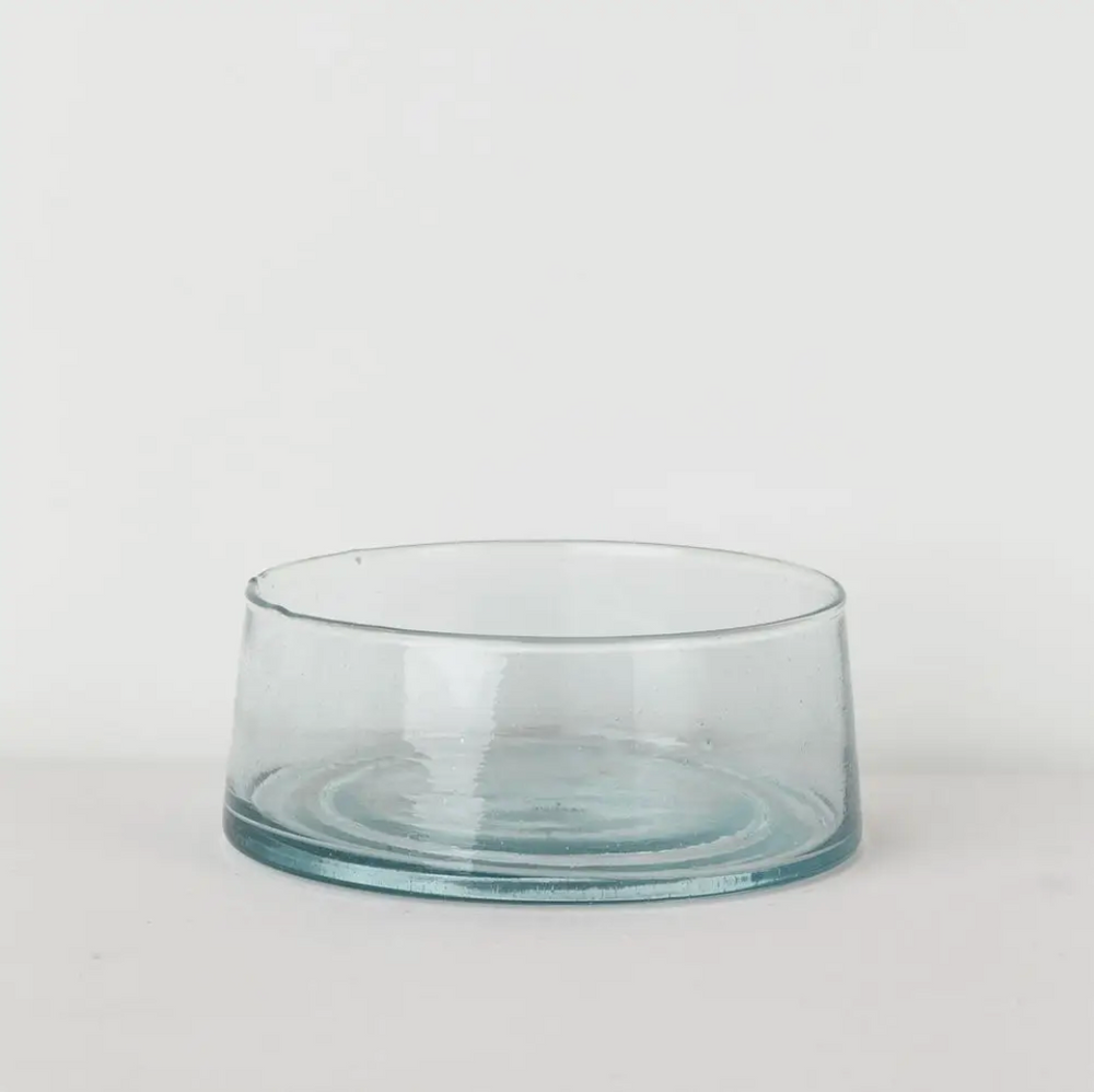 Moroccan Clear Glass Salad Bowl - Amethyst Home