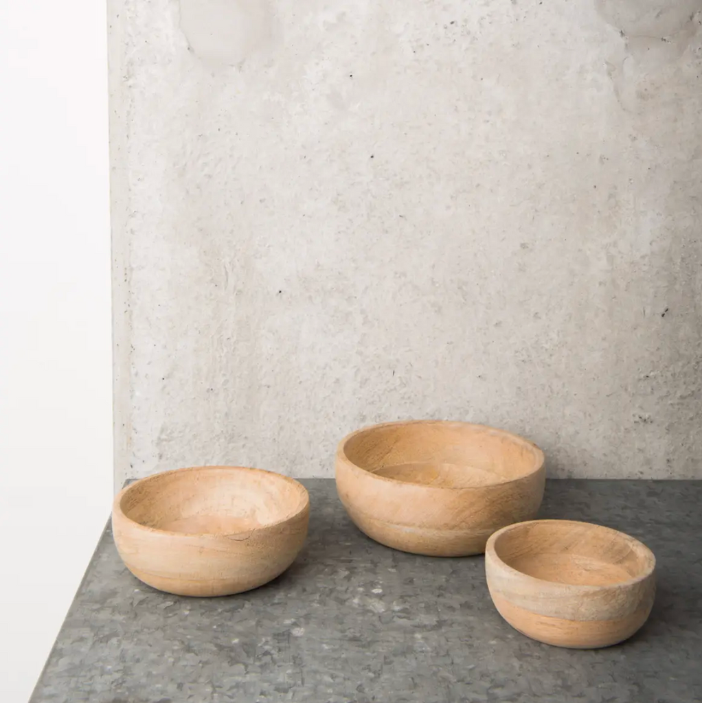 Set of 3 Natural Mango Wood Bowls