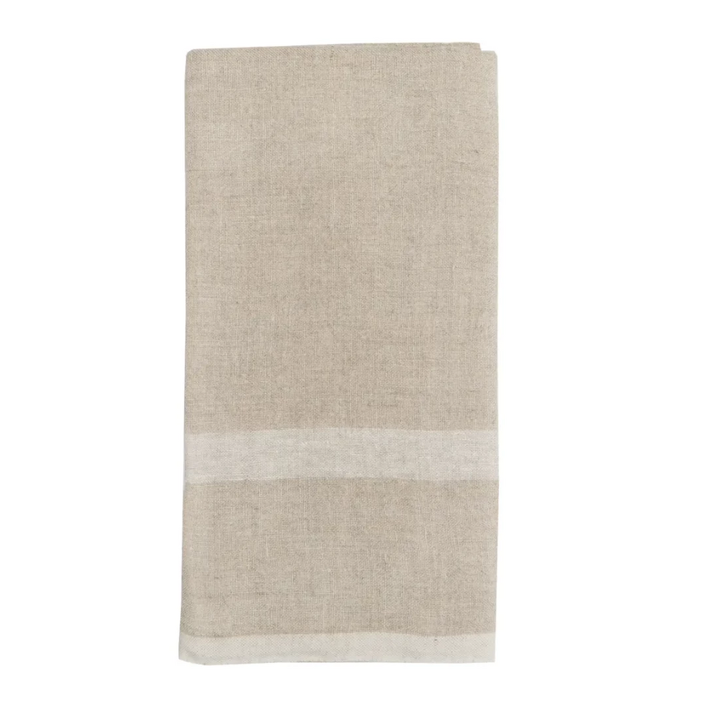 Laundered Linen Tea Towels Natural & White, Set of 2 - Amethyst Home
