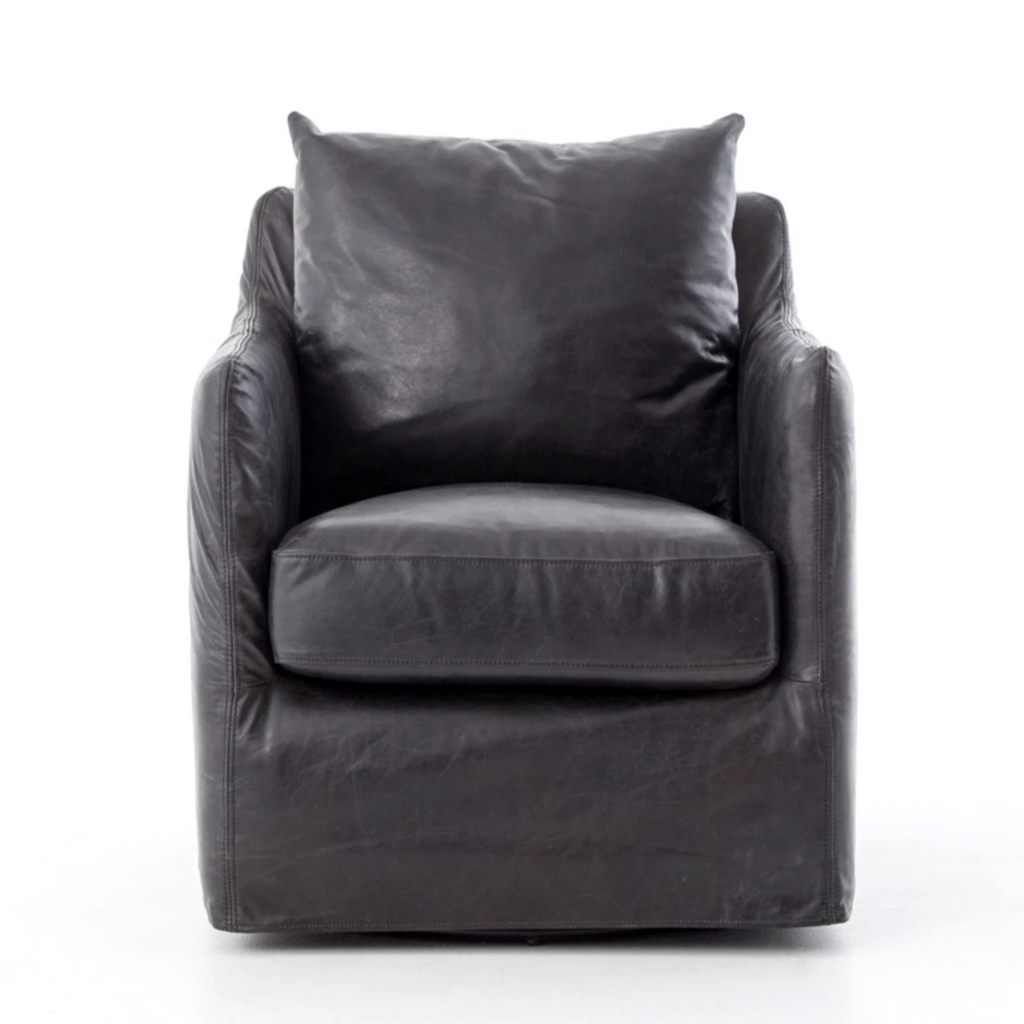 Banks Swivel Chair - Leather - Amethyst Home