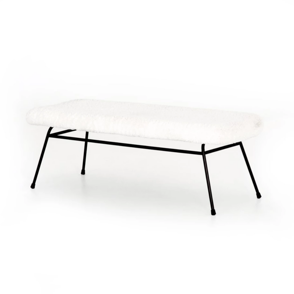 Caleb Small Bench - Ivory/Angora