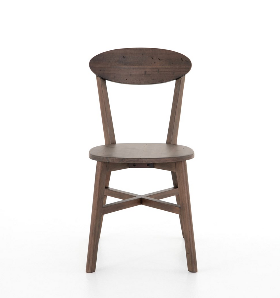 Reclaimed woods and simple styling make the Roseum Rustic Saddle Tan Dining Chair an easy go-to for everyday dining. The chair is beautifully done in a rustic tan with burnt oak finishes bringing natural depth to the table.