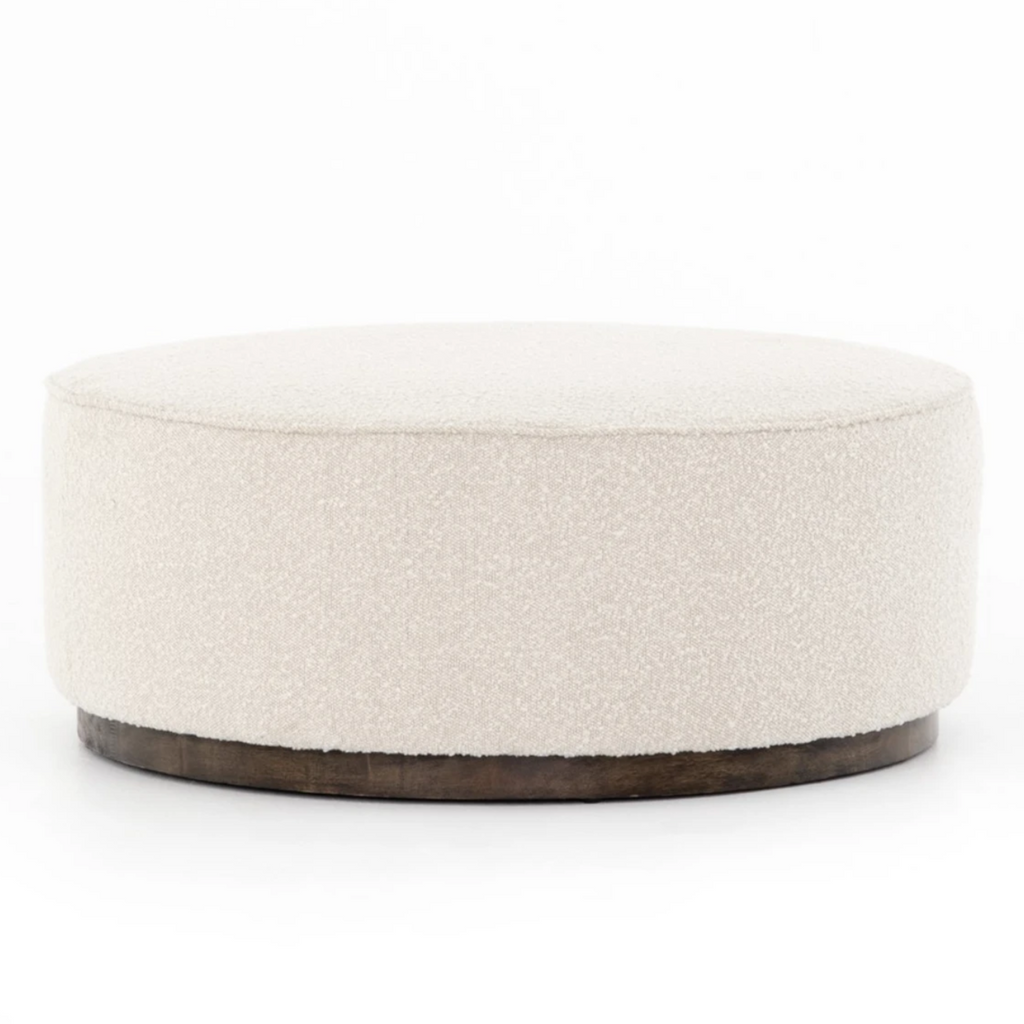Sinclair Large Round Ottoman - Knoll Natural - Amethyst Home