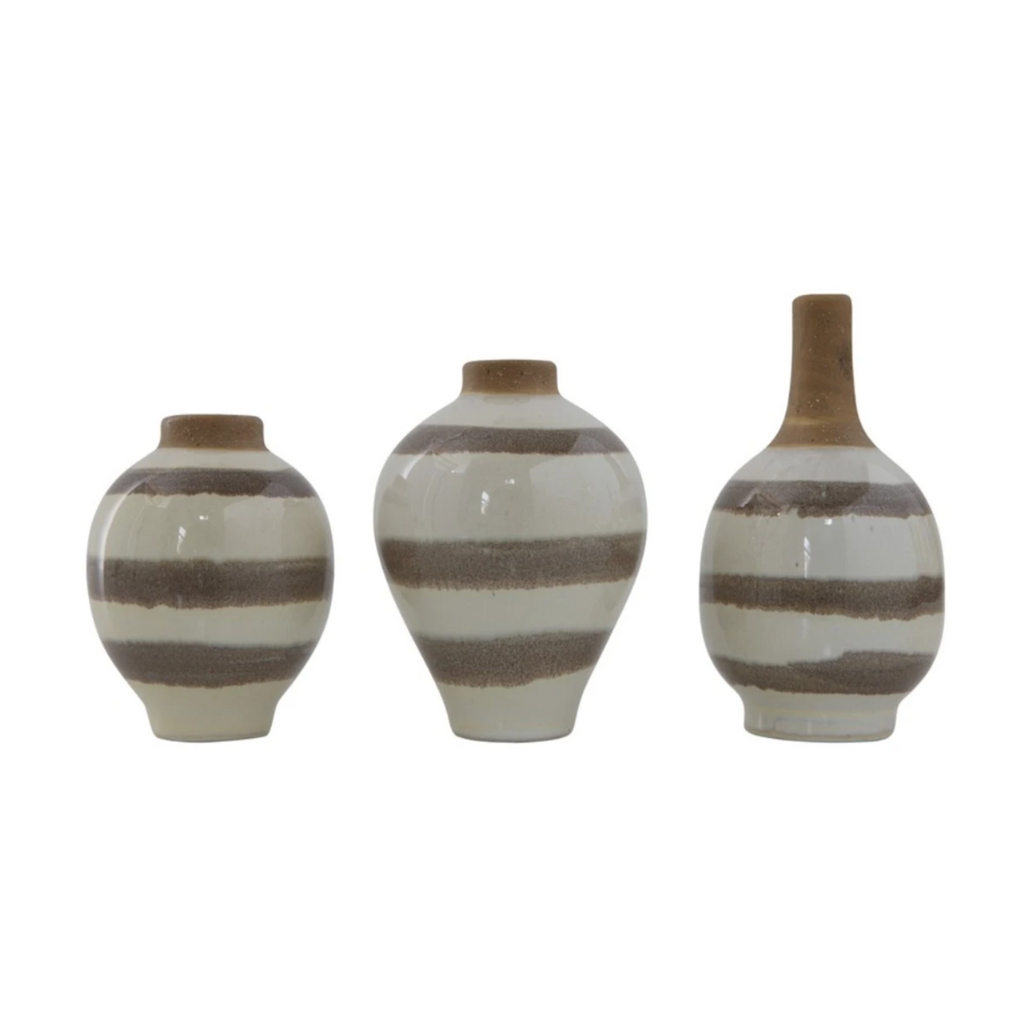 Taupe Stripe Vase - Amethyst Home