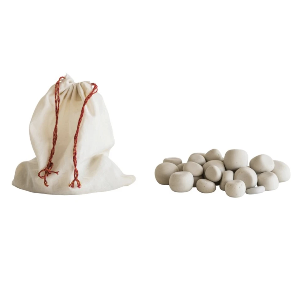 "Approximately 1"" Stone Pebbles in Cotton Muslin Bag, set of 24 (each one will vary)  Color: Natural"