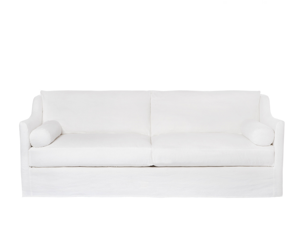 "A romantic swooped arm and a super cozy bench style cushion makes the Dalia Sofa by Cisco Brothers one of our favorites!  Made to order in Molino White 100% cotton -- or specify your favorite fabric for a custom quote.  Overall Size: 90""w x 40""d x 33""h Seat Space: 84""w x 32""d x 20""h"