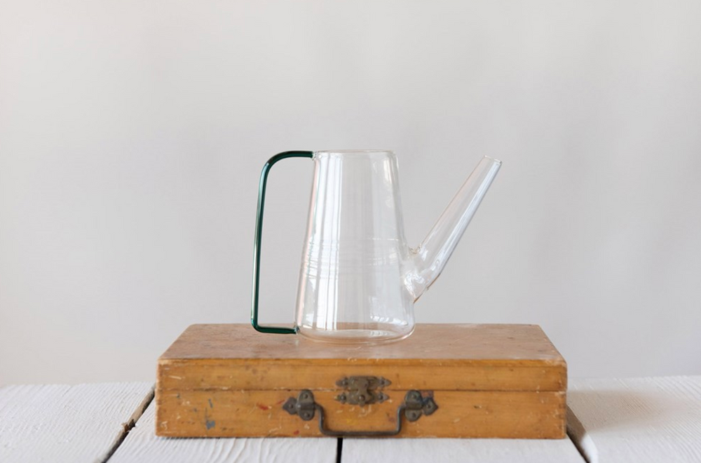 Glass Watering Can with Green Handle - Amethyst Home