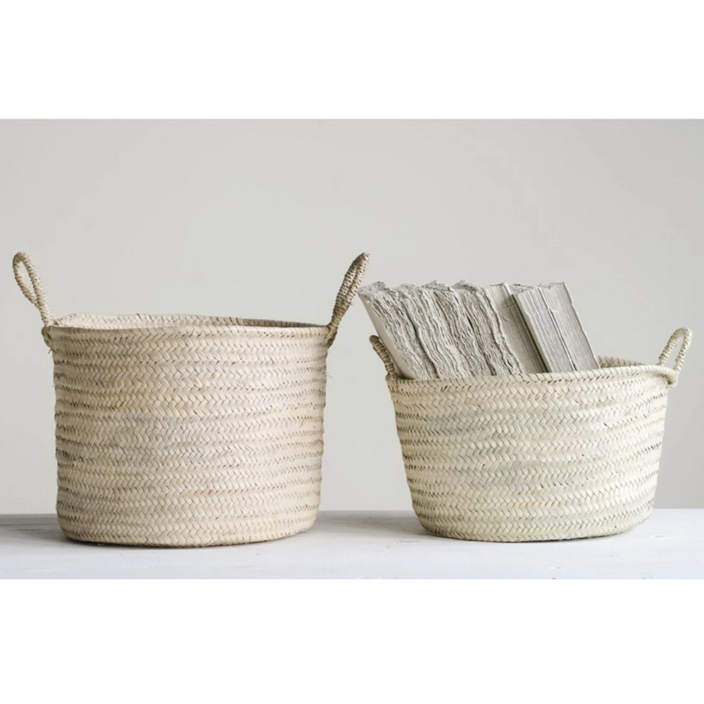 Hand-Woven Moroccan Basket with Handles - Amethyst Home