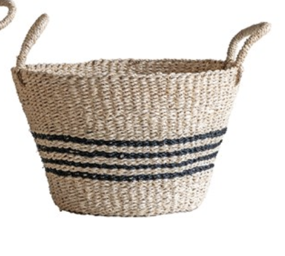 Black Stripe Basket with Handles - Amethyst Home