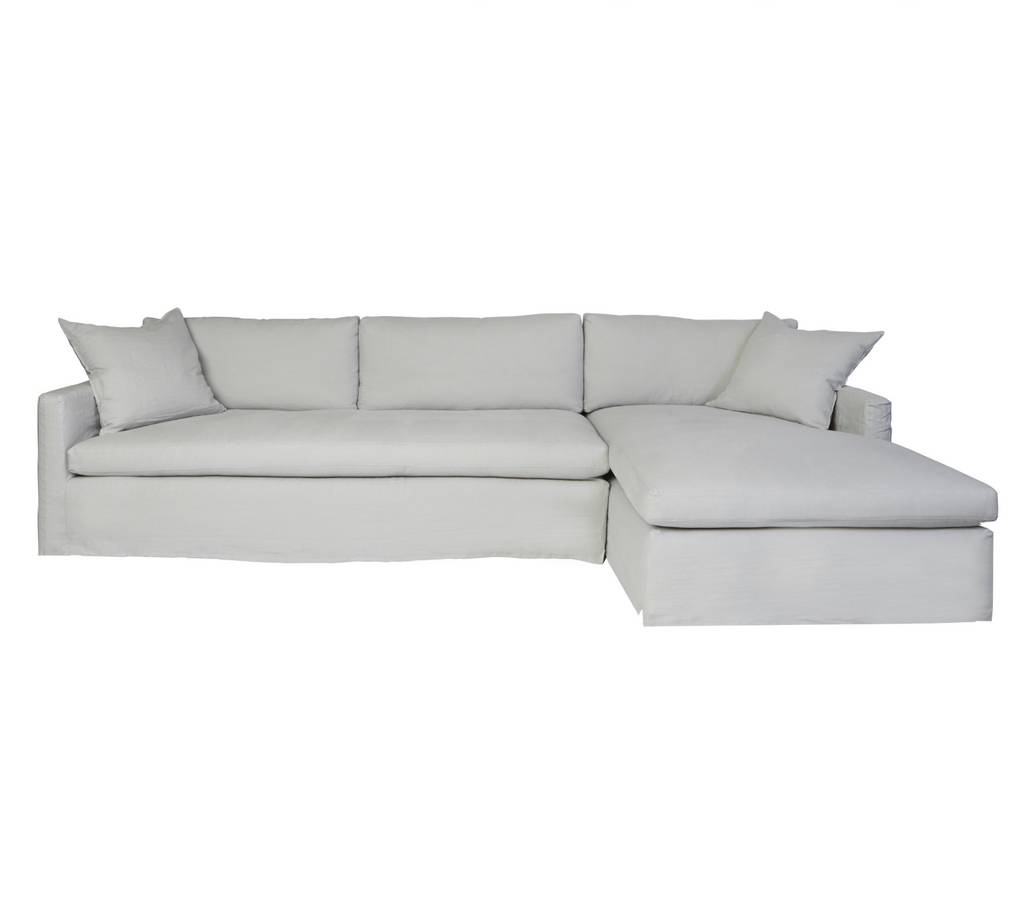 "Louis Slipcovered Sectional - Amethyst Home 121""w x 31""h x 68""d Seat Space: 81""w x 20""h x 54.5""d  Shown as a Right Arm Facing Sectional"