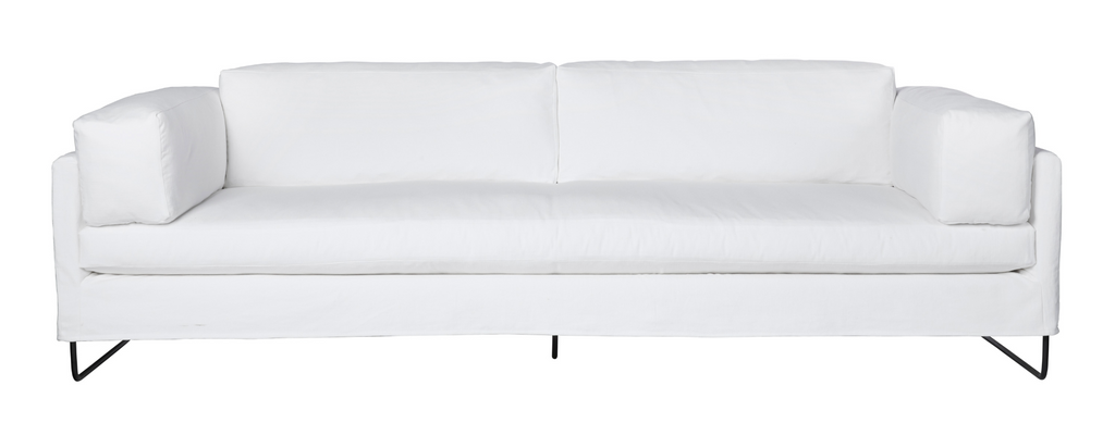"The gorgeous Allister slipcovered sofa by Cisco Brothers is chic and dreamy. The chunky pillows are so much fun with this silhouette. This sofa is photographed in Molino White fabric.  Dimensions: 101""w X 40""d X 24""h Seat dimensions: 77""w X 27""d  Support: webbing, stitch: Blind Leg: Base-metal  Note: Feather & Down included upon a black rust metal base"