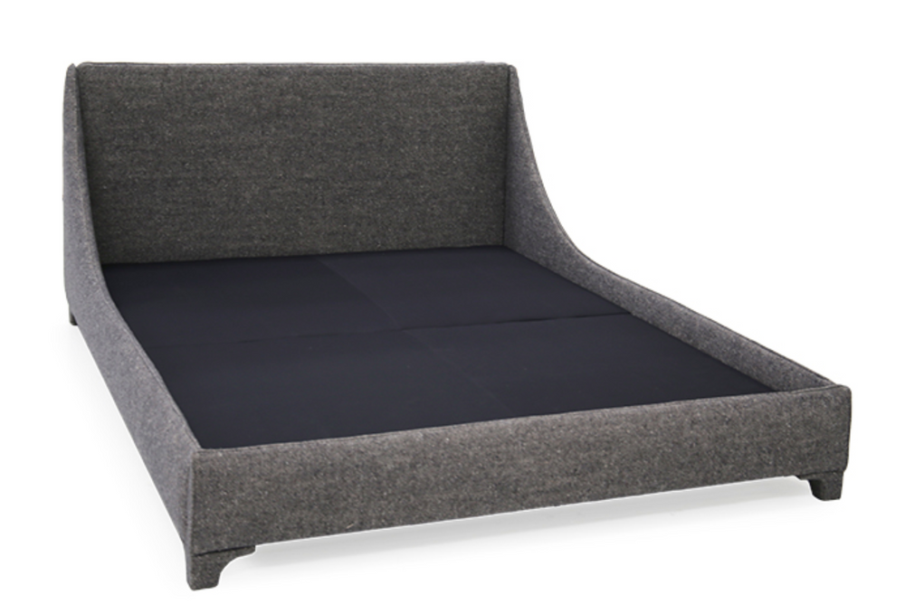 A Verellen modern, the Mabel Bed family comes standard with:  double needle stitch detail upholstered legs platform style base mattress only – not used with boxspring
