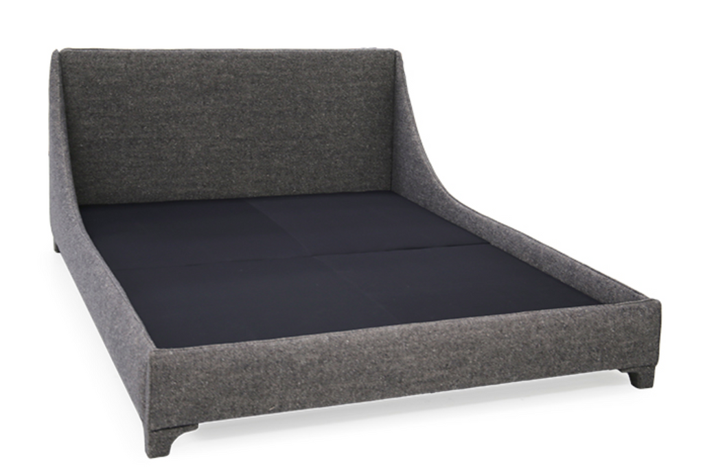 A Verellen modern, the Mabel Bed family comes standard with:  double needle stitch detail upholstered legs platform style base mattress only – not used with boxspring Available sizes – twin, full, queen, king, and California king.