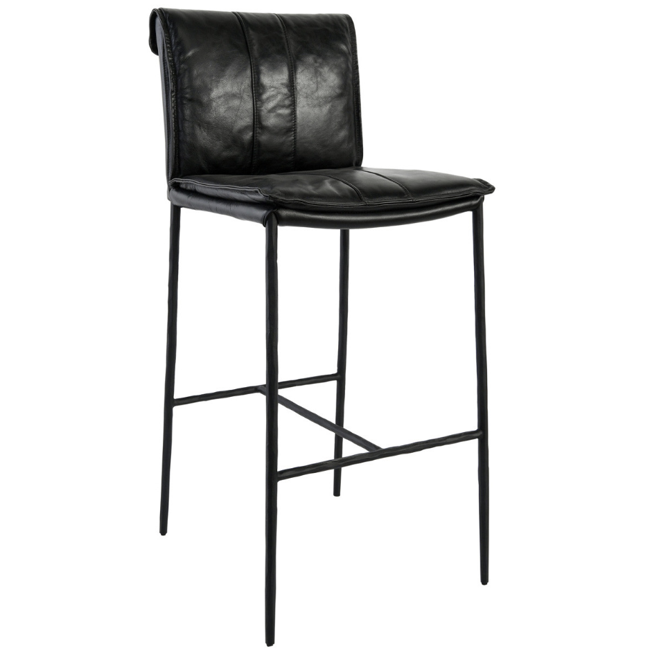 "Mayer Bar Stool 30"" Dimensions: 19""W x 21""D x 43""H Material: Top Grain Leather, Hammered Iron Legs Mayer Counter Stool Tan 26""  Dimensions: 19""W x 21""D x 39""H Materials: Top Grain Leather, Hammered Iron Legs"
