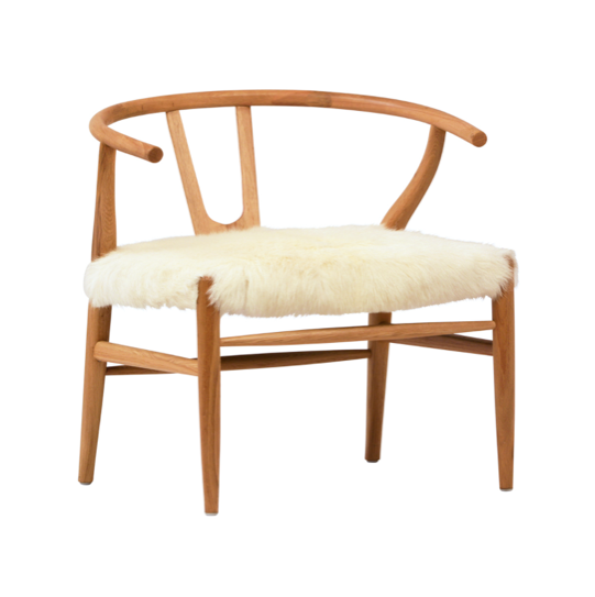 "This chair is perfect for adding fun style to your space.  Has a wishbone styled frame and the fur seat is soft, and eye-cathching.  OAK WOOD, FOAM / DACRON GOAT HIDE NATURAL WHITE SEAT HEIGHT 20"" Length: 27 Depth: 25 Height: 27"