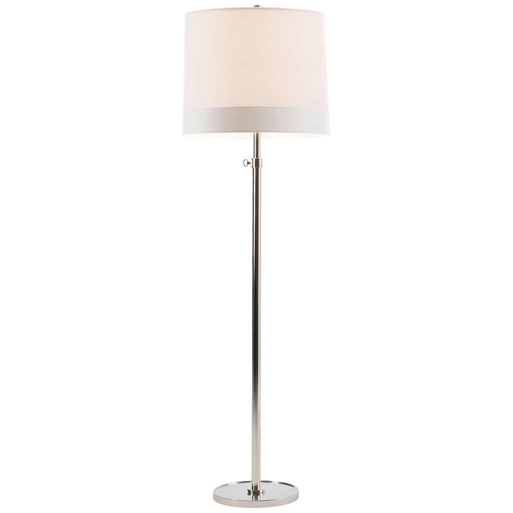 "We love the silk shade of the Simple Soft Silver Floor Lamp. It adds an elegant, warm glow to any room  Height: 62.5"" - 80"" Width: 22"" Base: 12"" Round"