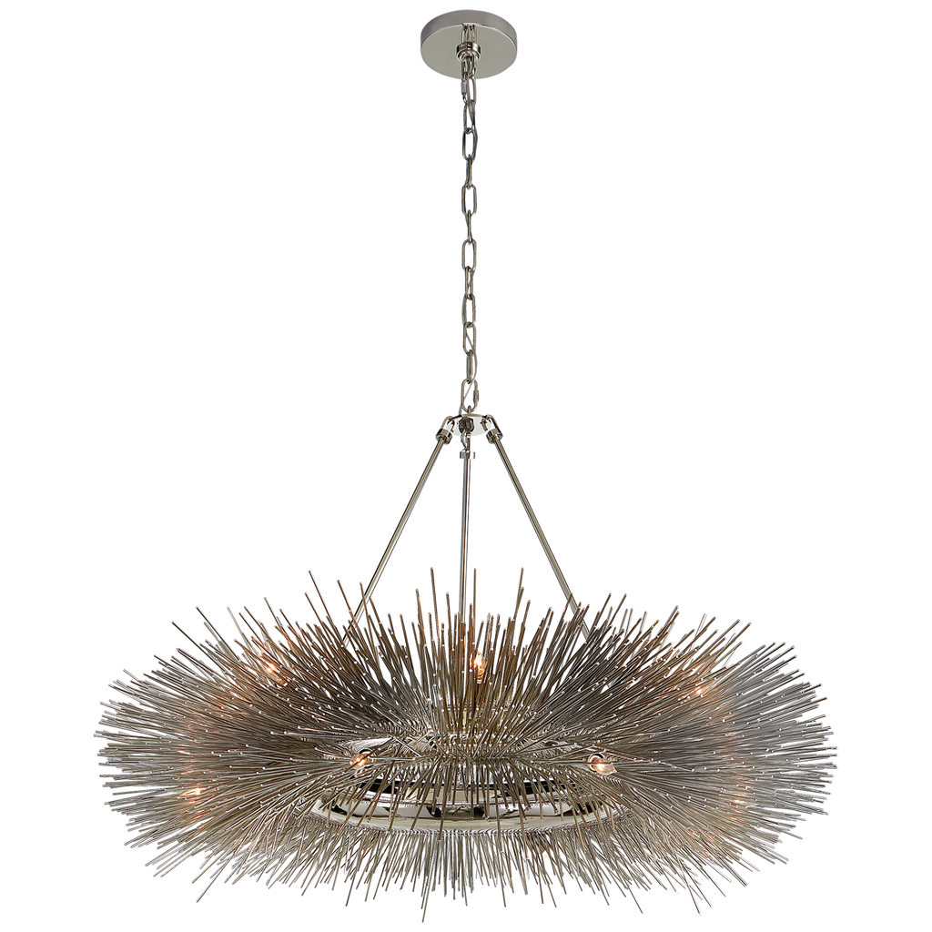 Art in the form of lighting with this Strada Ring Chandelier by Visual Comfort. An absolutely head turner for any entryway, dining room, or other large area   Designer: Kelly Wearstler