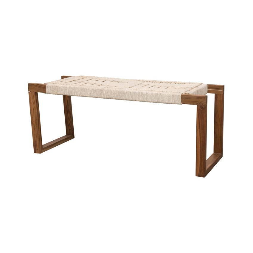 "We love the unique woven rope pattern this Teak Wood and Woven Rope Bench has. This brings a natural, earthy vibe to any entryway, living room, or bedroom.   Size: 16""d x 46""w x 18""h"