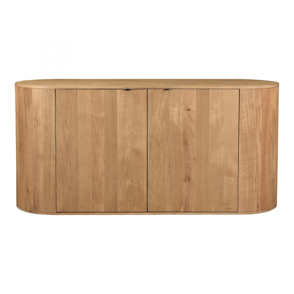 "Made from solid oak, the Theo Sideboard gives us all the natural, earthy vibes. The doors open to spacious interior shelves and have a magnetic door to help keep them shut. A perfect choice for families wanting extra storage while still making a statement in the room.   Size: 66""W x 22.5""D x 31.5""H Material: Solid Oak"