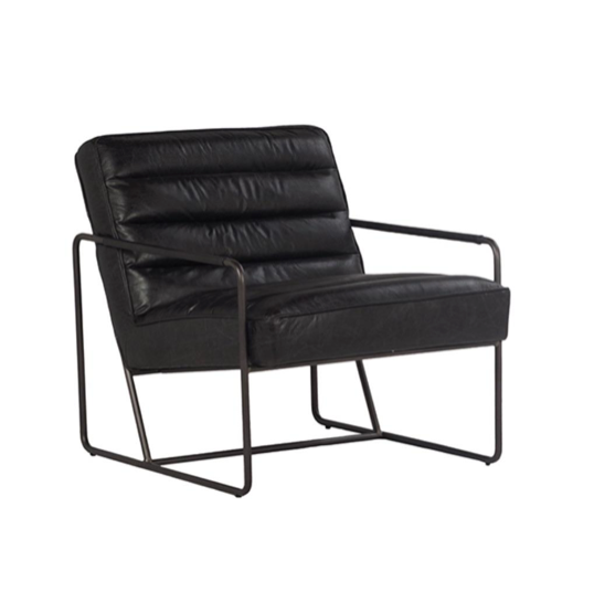 "Introduce a bit of modern character into your living space with our sleek Timmons Chair. Combining clean and minimalist lines with the smooth and uniform architectural silhouette lets you embrace a modern look while holding fast to timeless design BLACK IRON FRAME COW LEATHER EBONY BLACK SEAT H- 17"" / ARM H- 20"" Length: 26 Depth: 33 Height: 28"