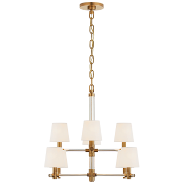 The two tiers of linen shades on this Treble Small Chandelier give a warm, classic look to any room. This would complete the look for any living room, entryway, or other large area