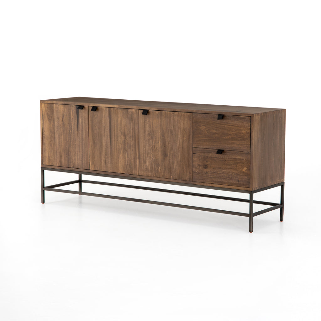 "We love the clean, slim legs of this Trey Auburn Poplar Sideboard. The doors and drawers make this the perfect sideboard for families wanting extra storage space while also making a statement  Size: 72""w x 18""d x 31""h Materials: Iron, Poplar, Top Grain Leather"