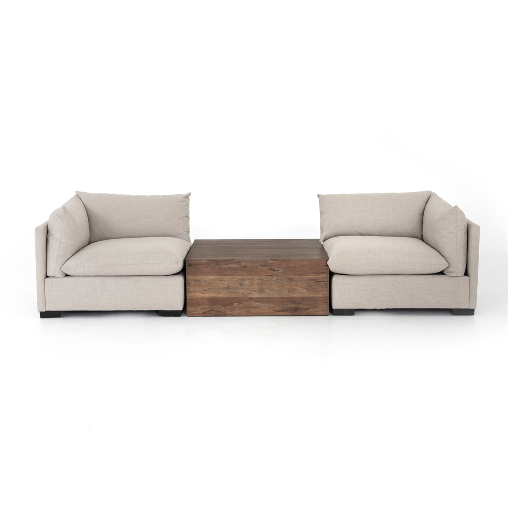 We love the durability in this Westwood Bennett Moon Right Arm Facing Sectional Piece. This is the ultimate low-and-deep lounger, perfect for reading your favorite book in.   Materials: Banak Wood, 100% Polyester