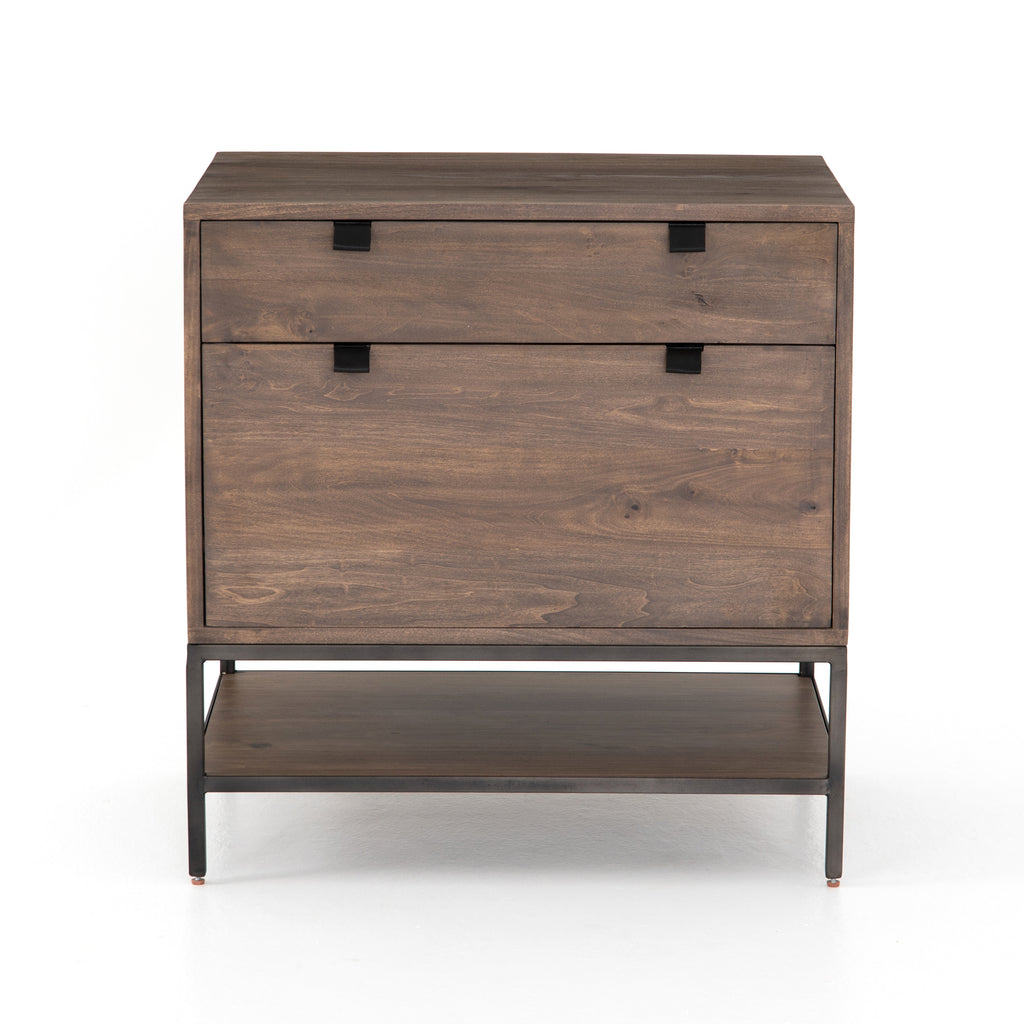 Inspired by clean mid-century design, the Trey Modular Filing Cabinet offers plenty of extra desk storage space. The cabinet is available in two colors, Auburn Poplar and a Black Wash Poplar. Metal-secured leather pulls add a textural element of surprise. Great solo or paired with matching desk or credenza.
