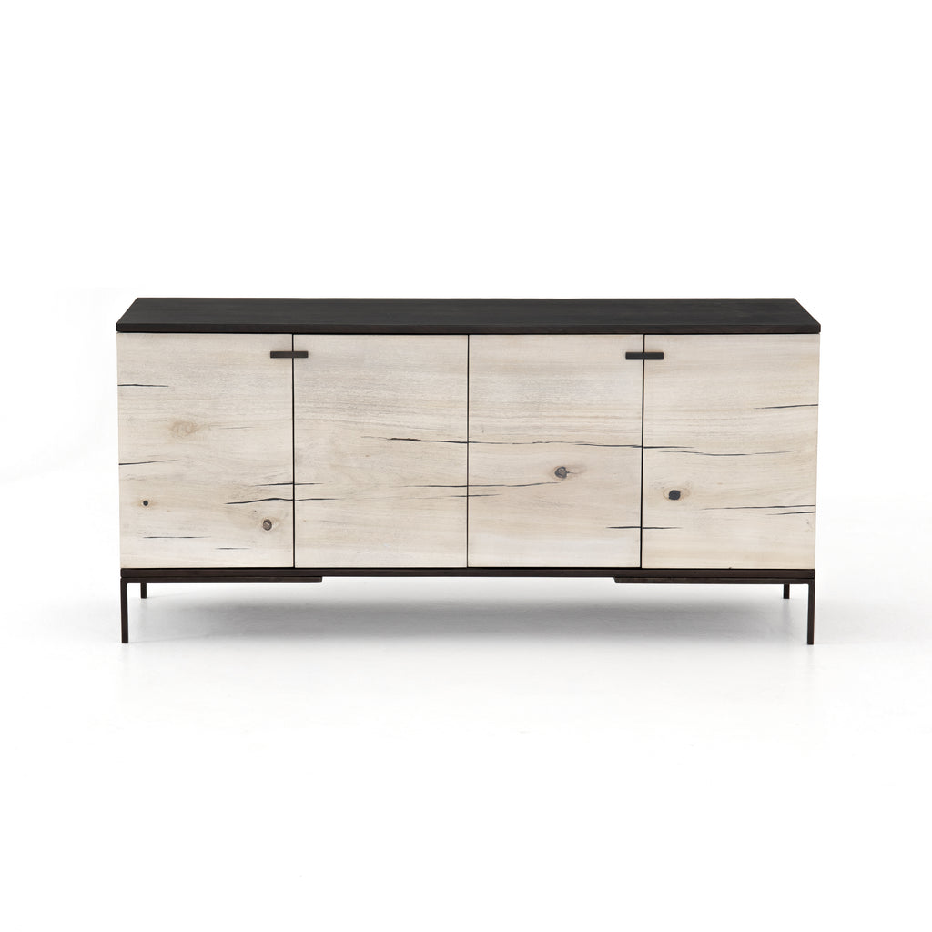 Cuzco Bleached Yukas Small Media Console - A modern salute to mid-century styling. Slender legs of gunmetal-finished iron support a black ash frame, as resin fills the natural graining of bleached yukas.
