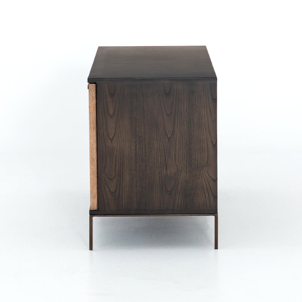 Cuzco Natural Yukas Small Media Console - Plantation yukas delivers distinctive warmth to minimalist styling. Slender legs of bronzed iron support an ash-finished frame, as resin fills yukas' natural graining.
