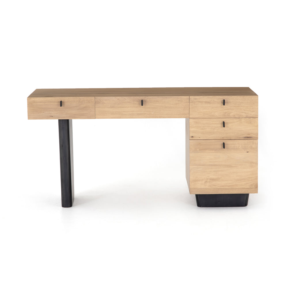 "We love the asymmetrical frame of this Ula Dry Wash Poplar Desk. With four drawers and one larger drawer, this a beautiful and functional desk to put in your office, living room, or any other area of your home.   Overall Dimensions: 62.00""w x 24.00""d x 31.00""h Materials: Solid Poplar, Solid Poplar"