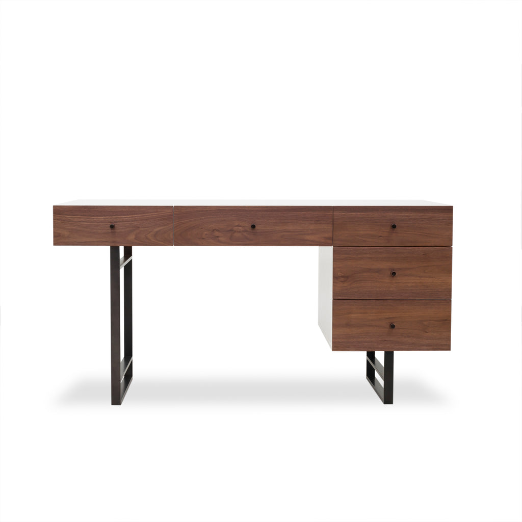 "Endlessly simple lines offer drama with dynamically contrasting white lacquer and beautifully grained walnut in this Tucker Desk. Pieces appear to float over slim, black iron legs with recessed bases and chamfered-edged plinths. Asymmetrical drawer and door configurations add flair and style to storage.  Overall Size: 60.00""w x 28.00""d x 31.00""h"
