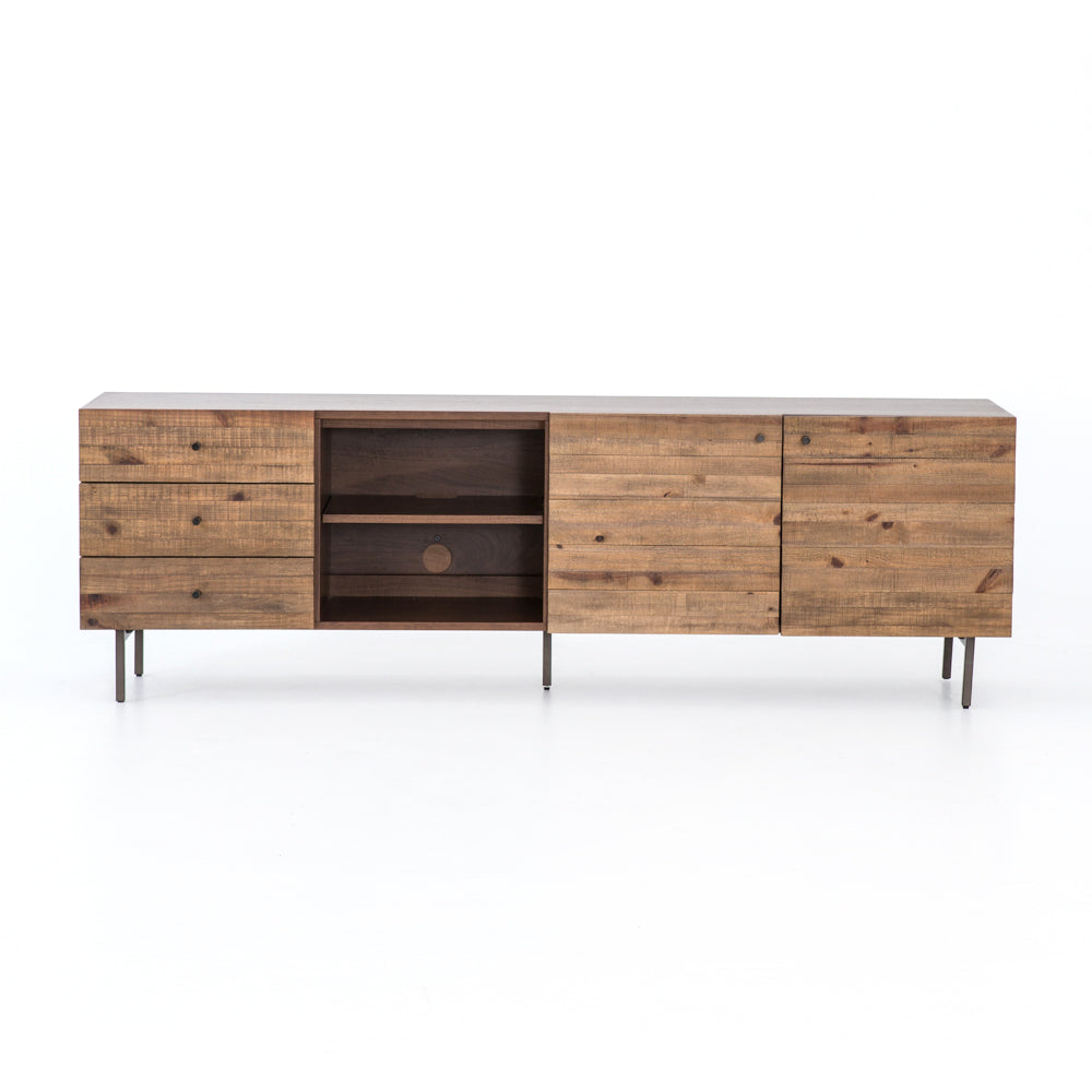 "We love the light, organic look the reclaimed pine and chestnut-finished walnut veneer give to this Harlan Media Console. The drawers and shelving help to keep your media tidy.   Size: 82""w x 18""d x 26""h Materials: Iron, Walnut Veneer, Reclaimed Pine"
