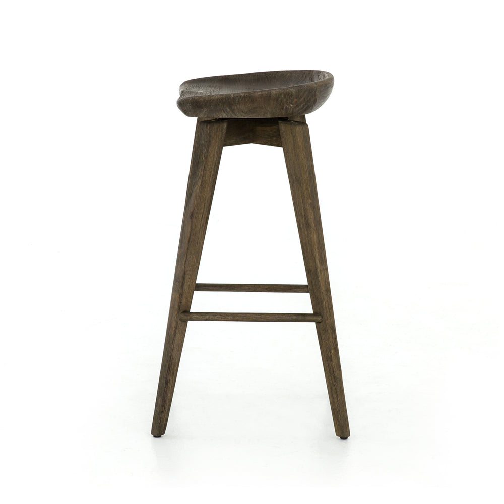 A fresh spin on bar seating, the Parawood Swivel Bar Stool is finished in a deep charcoal for a clean, sleek look. The stool is topped with a swivel seat and four kick-plates for ease.