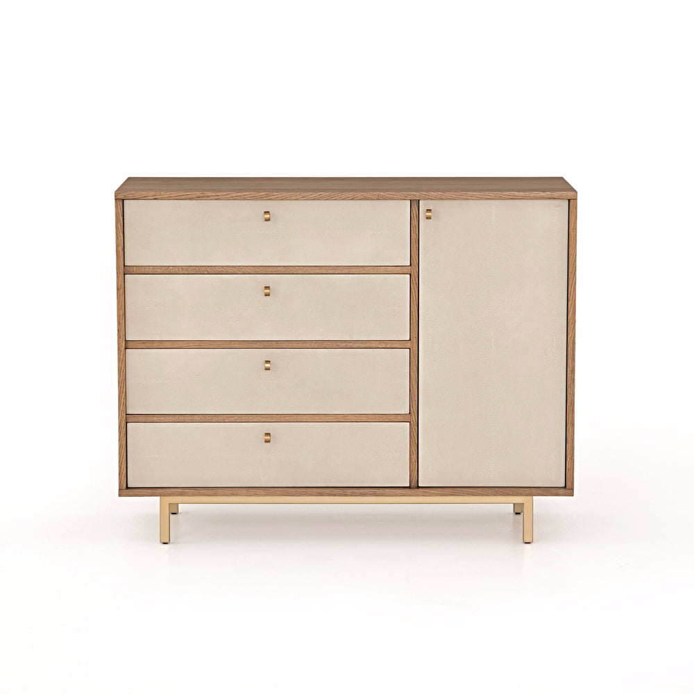 Abiline Dresser - Light toasted oak welcomes four drawers and spacious cabinet in a cream resin faux shagreen, for a sophisticated, high-contrast look. Satin brass legs and pull hardware add a fresh, elegant touch to bedroom storage.