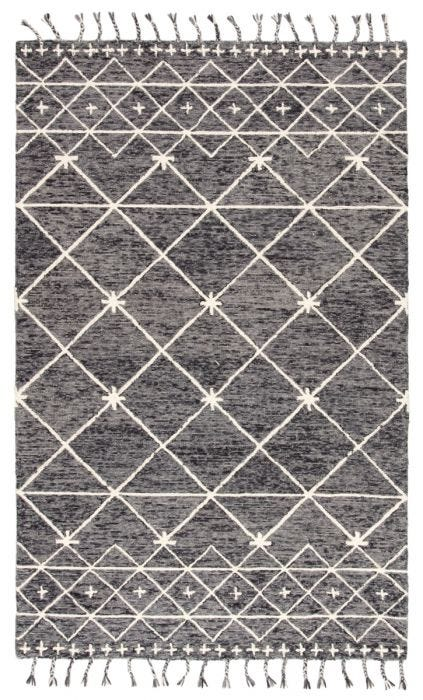 Hand-tufted of wool, the Vera collection by Nikki Chu infuses contemporary spaces with inspiring patterns and versatile colorways. The glam-meets-global Rhea rug features an ivory Moroccan-inspired trellis design that covers the gray and black backdrop with a space-dyed effect. Long, braided tassels add a touch of boho-chic charm to this worldly rug.  Hand-Knotted  100% Wool VNK03 Vera Rhea Rug