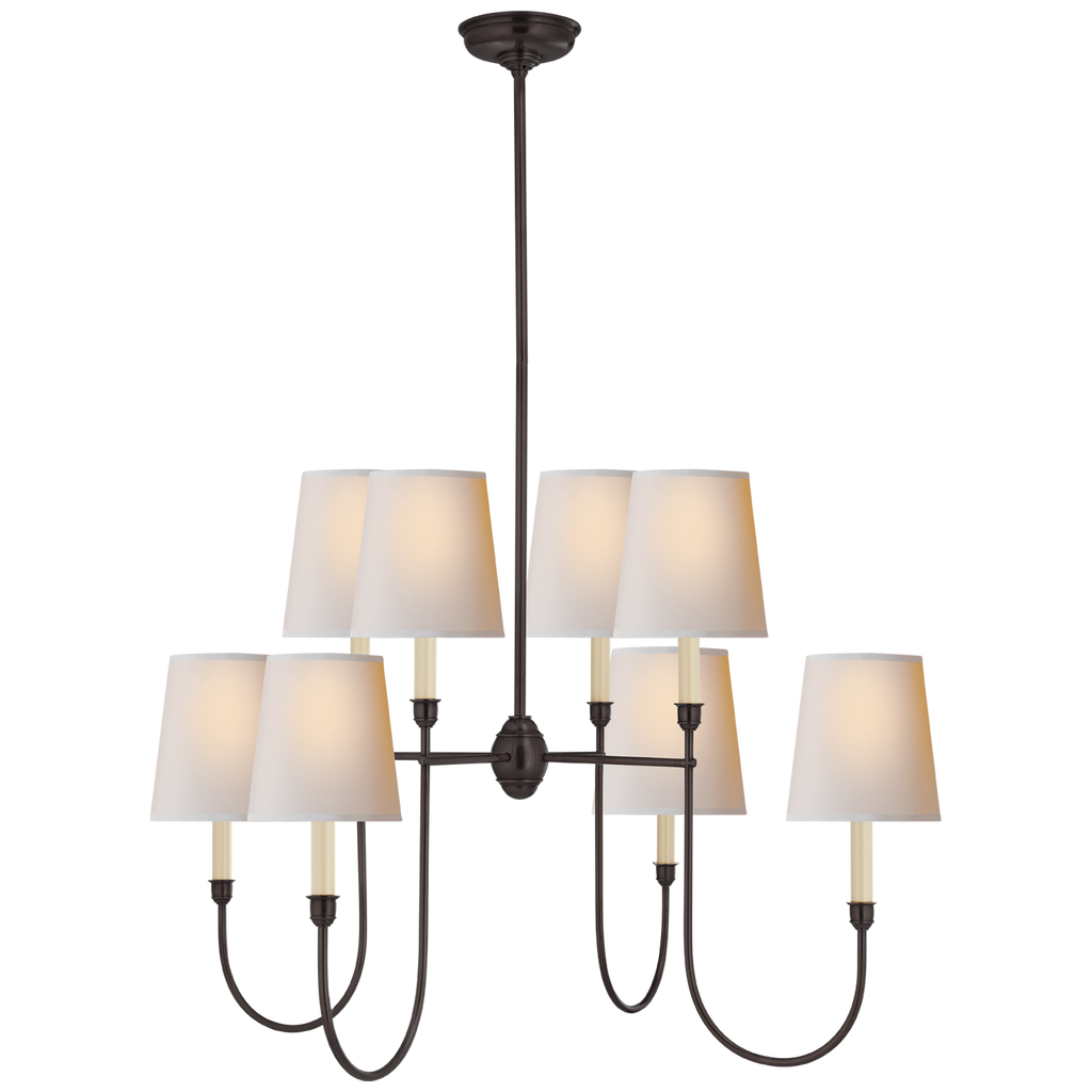 The natural paper shades of this Vendome Large Chandelier by Visual Comfort bring a warm, soft glow to any living room, dining room, or other large area   Designer: Thomas O'Brien
