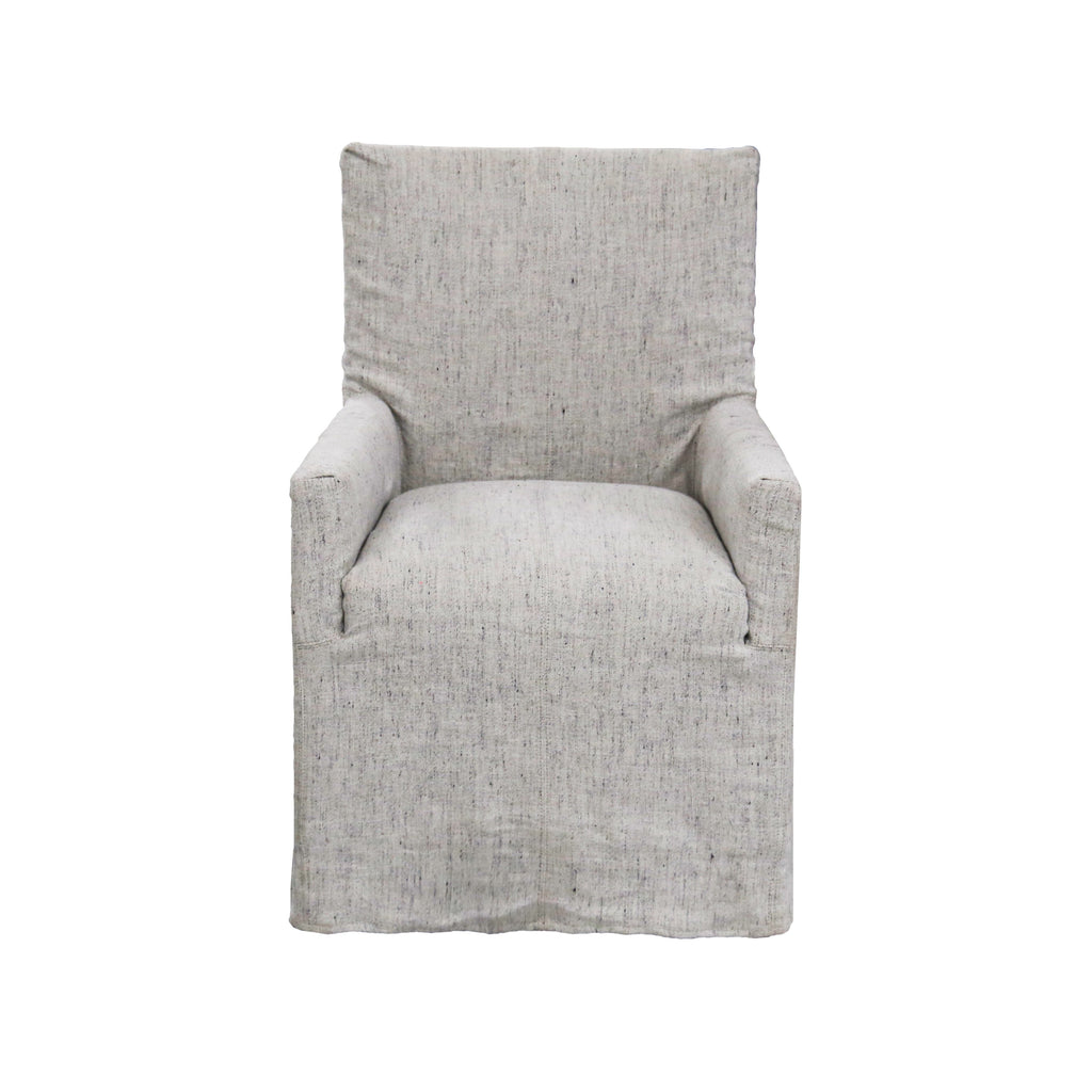 "The Alois Dining Chairs by Verellen are a calm, comfy choice for your dining room. Photographed in a beautiful Stonewash slipcover.   Size: 38""h x 25.5"" w x 29""d"