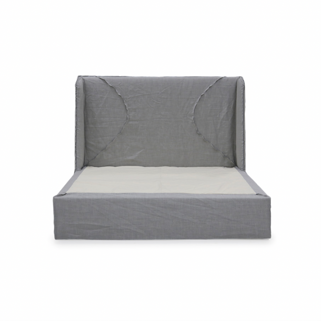 The modern Ivy Bed by Verellen has a gorgeous dual arched inside out stitch with a bar track detail on the headboard. This comfy bed features:  double needle stitch detail sits on glides not used with a box spring available slipcovered or upholstered