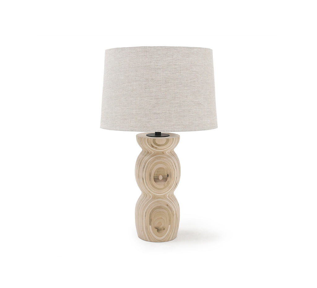 "The Verona Table Lamp is hand-turned from sustainably harvested hardwood by Verellen in North Carolina. Each lamp is made uniquely for you with a beautiful, raw layered lumber finish Base: 7""w x 24""h Overall Height: 34""h"