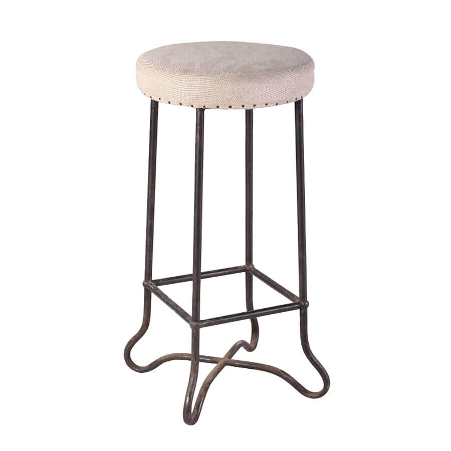 Vintage barstool from France with linen seat. The linen seat may slightly vary in color and may contain intentional imperfections as an aesthetic.