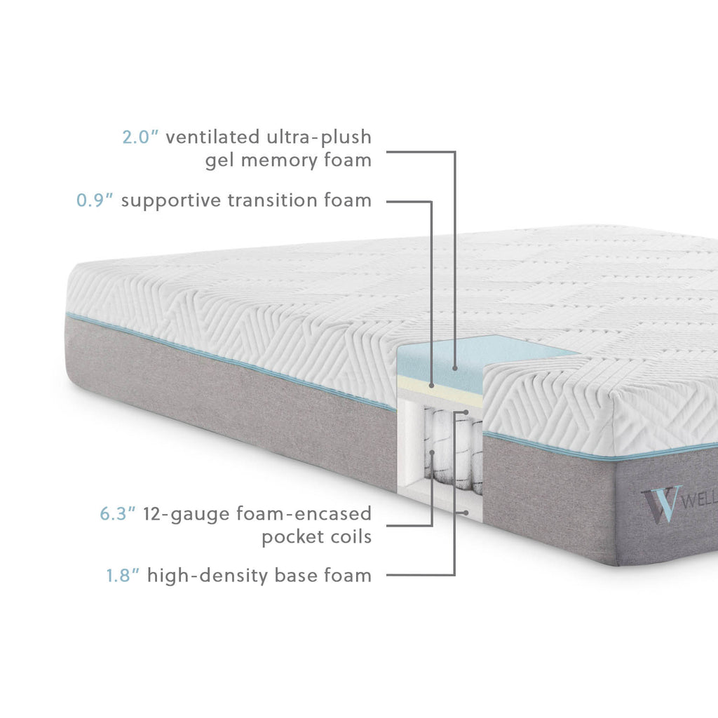 "The Wellsville 11"" Gel Hybrid Mattress has foam encased pocketed coils and gel-infused memory foam that dissipate heat for a cooler, comfortable sleep temperature  Twin XL: 80""l x 39""w x 11""h Twin:  75""l x 39""w x 11""h Full: 75""l x 54""w x 11""h Queen: 80""l x 60""w x 11""h Split Queen: 80""l x 30""w x 11""h King: 80""l x 76""w x 11""h Cal King: 84""l x 72""w x 11""H Split Cal King: 84""l x 36""w x 11""h"