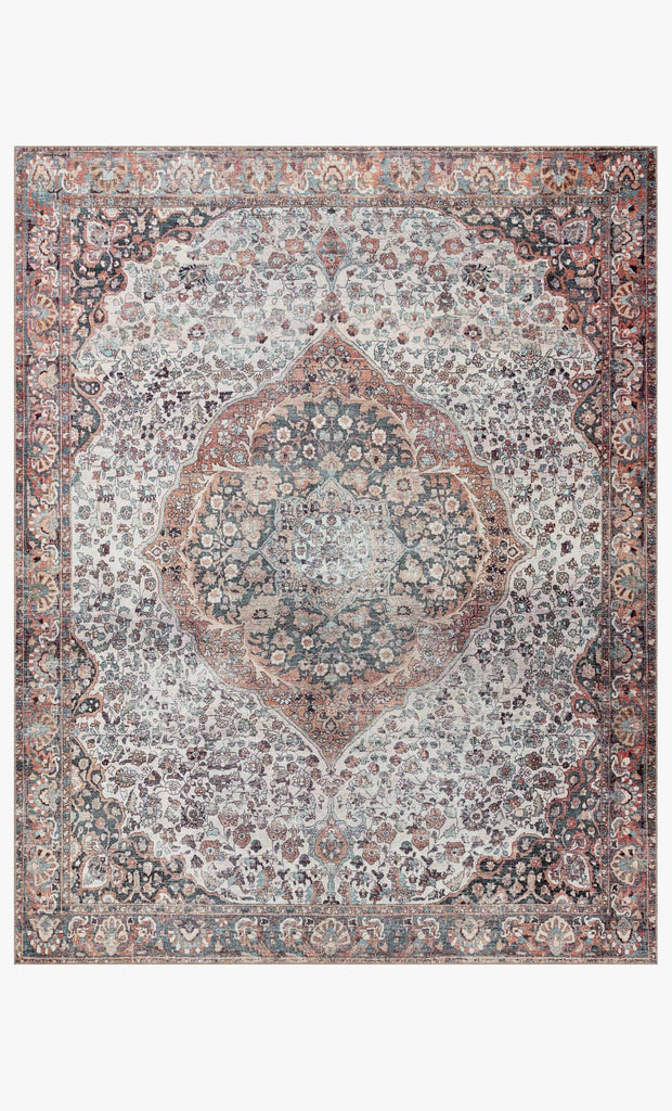 The Wynter Red / Multi area rug showcases a one-of-a-kind vintage or antique area rug look power-loomed of 100% polyester. This rug brings in tones of red, ivory, black, orange, and hints of blue. The rug is ideal for high traffic areas such as living rooms, dining rooms, kitchens, hallway, and entryways.