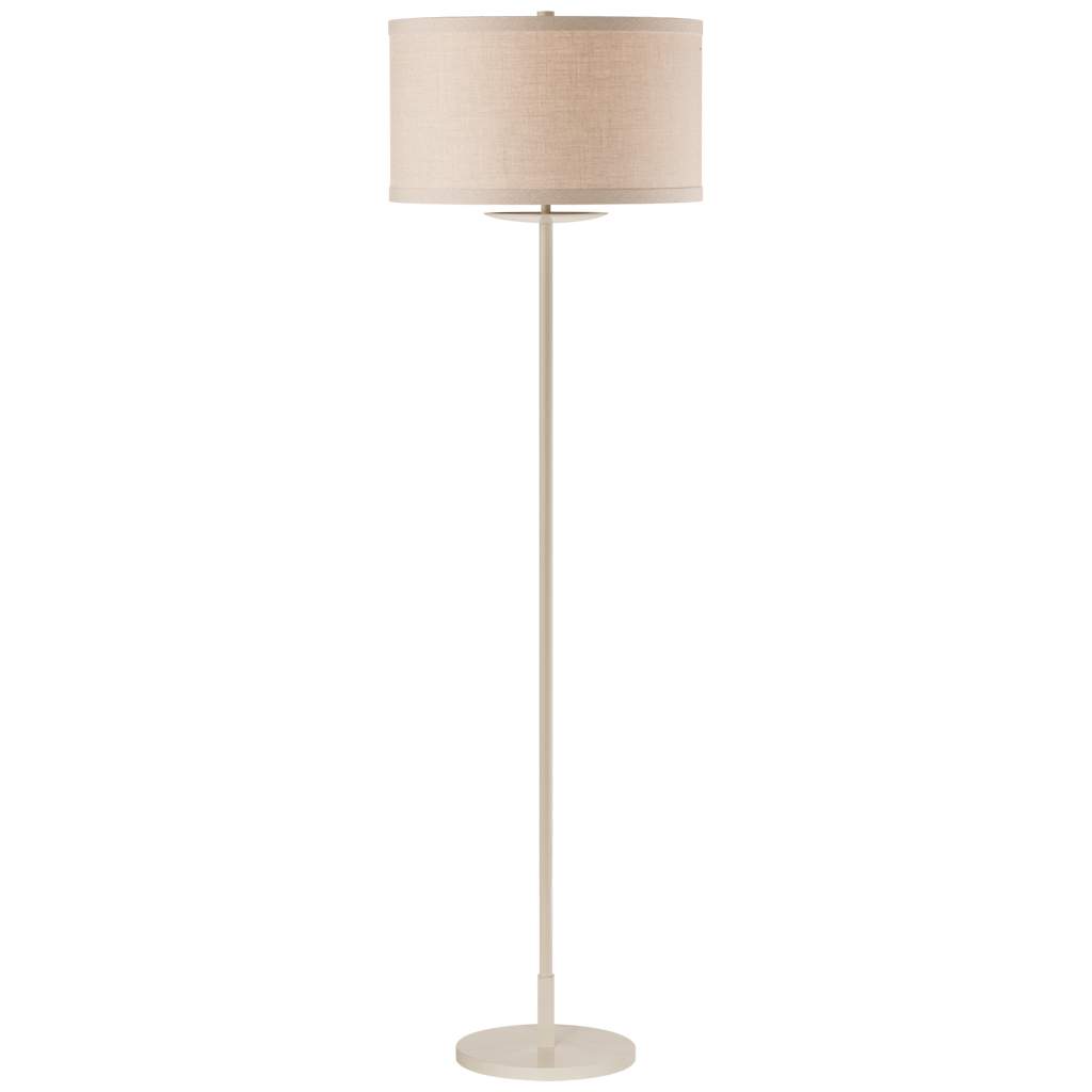 "We love the natural linen shade of this Walker Light Cream Medium Floor Lamp. The light cream exudes a warm glow in any room   Height: 58"" Width: 17"" Base: 10"" Round"