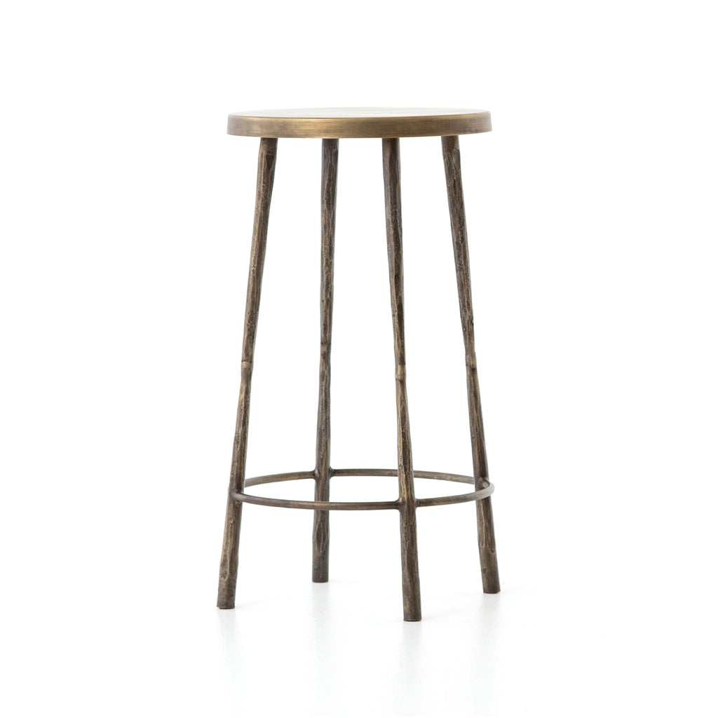 "The Westwood Antique Brass Bar + Counter Stool have stunning hammered iron legs for a rich, rough look.   Counter Stool: 16""w x 16""d x 26.25""h Bar Stool: 16""w x 16""d x 30""h  Materials: Iron"
