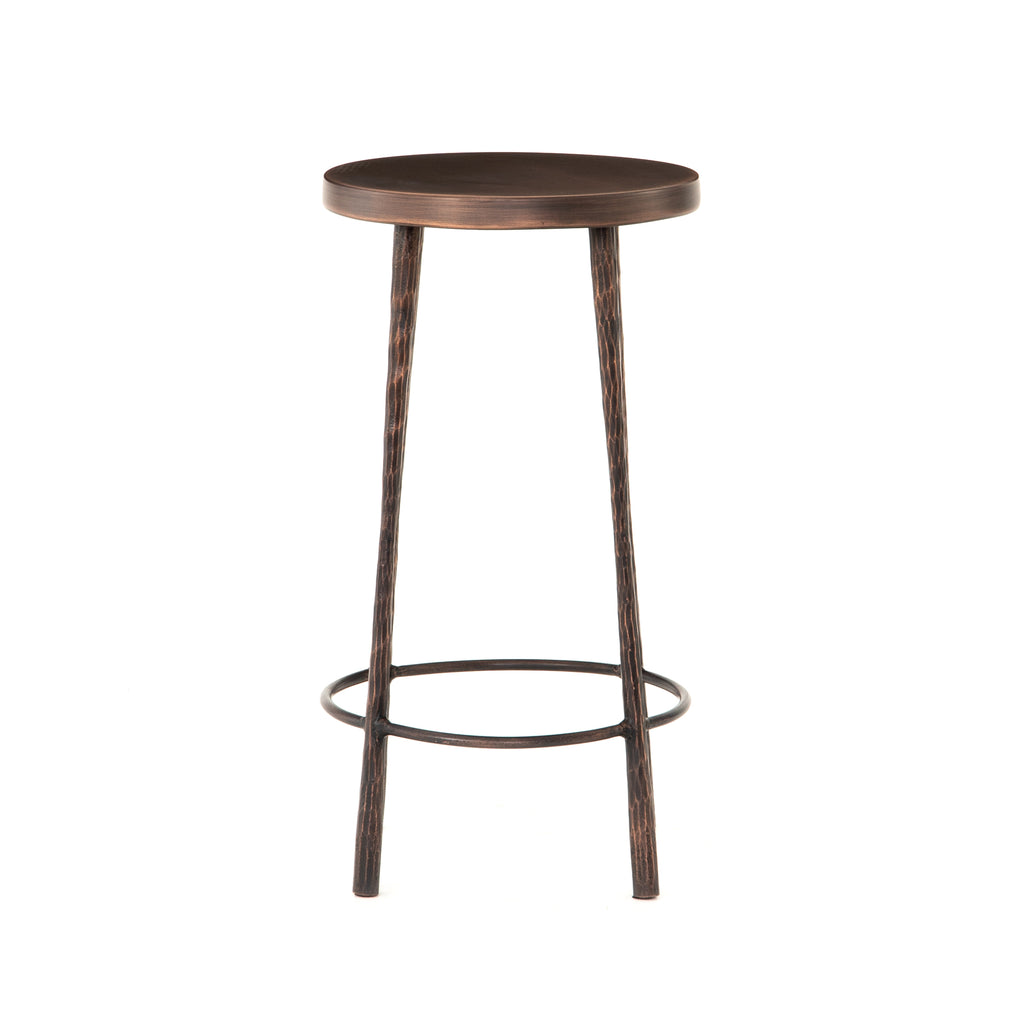 "The Westwood Antique Copper Bar + Counter Stool have stunning hammered iron legs for a rich, rough look.   Counter Stool: 16""w x 16""d x 26.25""h Bar Stool: 16""w x 16""d x 30""h"