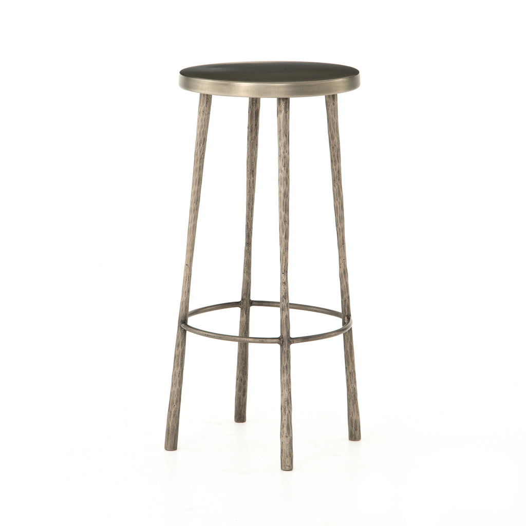 "The Westwood Antique Nickle Bar + Counter Stool have stunning hammered iron legs for a rich, rough look.   Counter Stool: 16""w x 16""d x 26.25""h Bar Stool: 16""w x 16""d x 30""h  Materials: Iron"