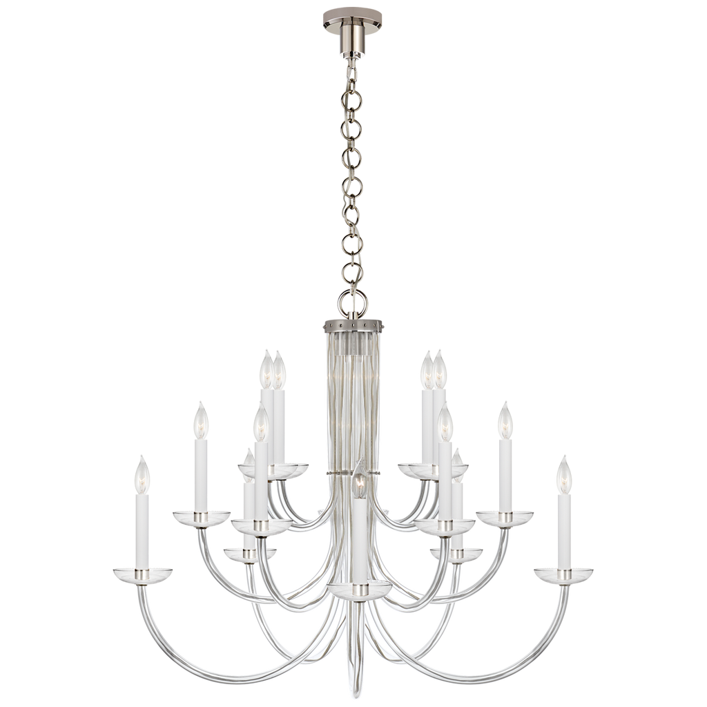 The crystal shade and slim, curved layers of this Wharton Chandelier by Visual Comfort make it an eye catcher for any living room, entry way, or other large area