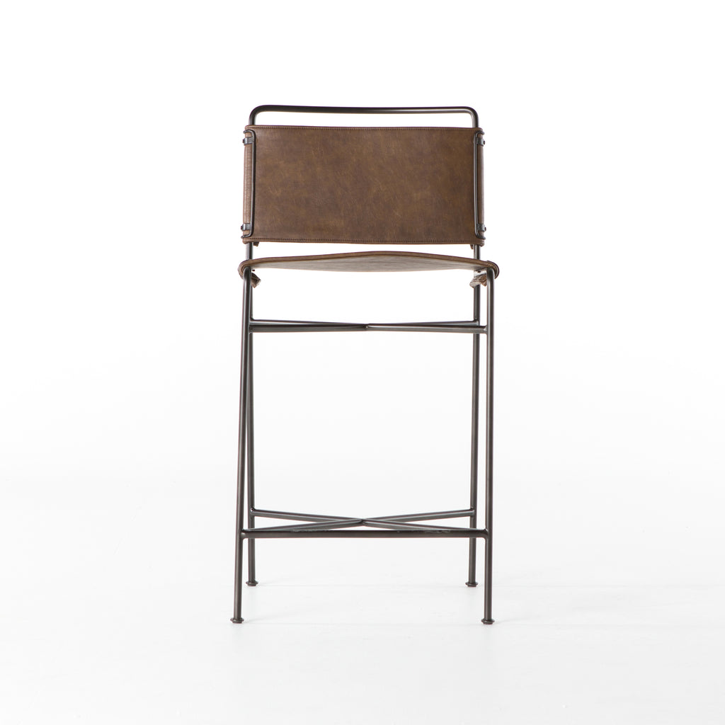 Wharton Distressed Brown Bar + Counter Stool